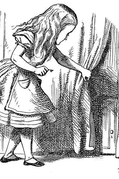 Alice do País das Maravilhas a abrir uma cortina com uma porta atrás, uma ilustração de John Tenniel