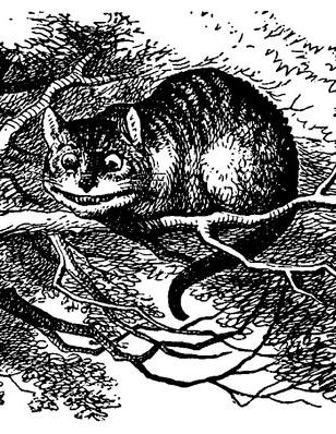 Gatos da Alice no País das Maravilhas em cima de uma árvore