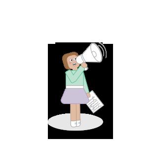 Menina com um megafone e uma folha de papel a anunciar informações