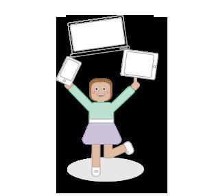 Menina com desktop, tablet e telemóvel representativa do serviço de criação de sites da Tell Now