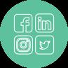 Círculo verde com quatro simbolos: do Facebook, Linkein, Instagram e Twitter com cortornos brancos