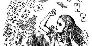Ilustração a preto e branco com cartas a voar e a personagem da Alice no País das Maravilhas da autoria de Sir Jonh Tenniel do livro Alice no País das Maravilhas, cujo autor é Lewis Carrol