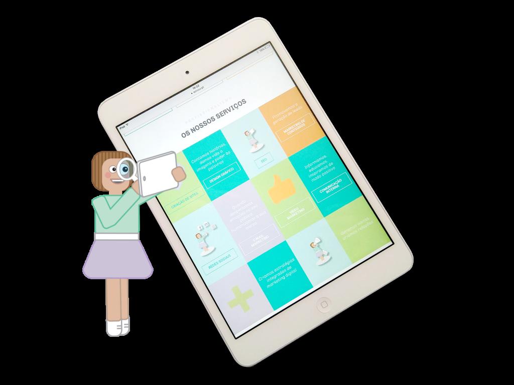Mascote da Tell, uma menina de saia roxa e camisola verde, com uma luta na mão a examinar o conteúdo de um tablet. Ao lado um tablet com os serviços da Tell Now em destaque.