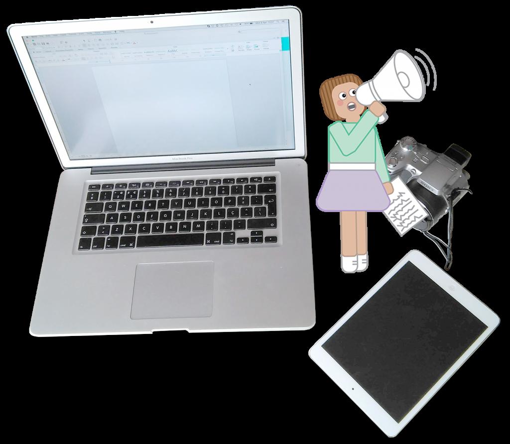 Fotografia de um Mac Book, uma câmara de filma e um tablet com a mascote da Tell Now ao lado. Na mão tem um megafone.