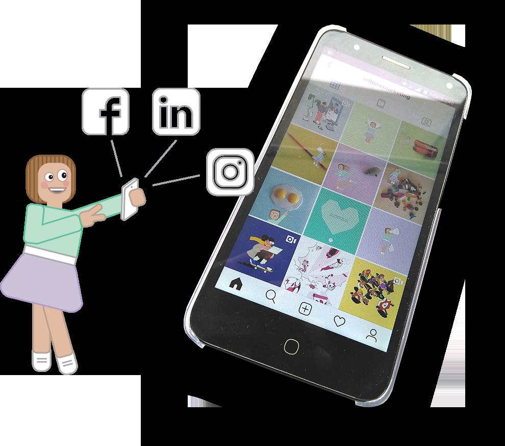 Mascote da Tell, uma menina de saia roxa e camisola ver, com balões com logos de redes sociais - Facebook, Instagram e Linkedin - na mão e com um smartphone ao lado. No visor vê-se um perfil de redes sociais.