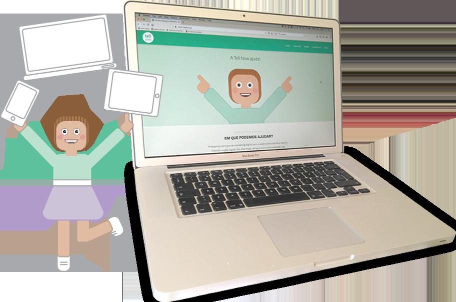 Mascote da Tell, uma menina de saia roxa e camisola verde, com um desenho de smartphone, tablet e portátil em cima da cabeça. Ao lado um Mac Book com a página web da Tell Now aberta.